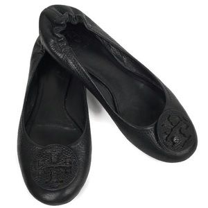Tory Burch Reva Leather Ballet Flats in Black